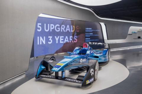 """Nio has a Formula E — """"E"""" for """"electric cars"""" — racing team. One of the company's racecars is on display in the Nio House."""