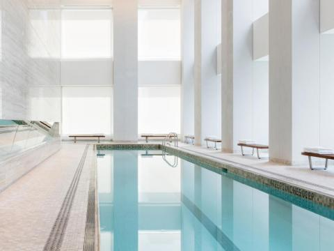 But not many residential gyms come with a 75-foot swimming pool. There's also a sauna and a steam room.