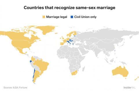 Solo alrededor del 13% de los países miembros de la ONU han legalizado el matrimonio homosexual.