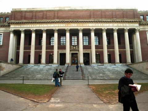 Over in Harvard Yard, Harvard's original campus, there's the renowned Widener Library, filled with three million books spanning 50 miles of shelves.