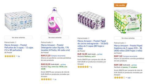 Presto, productos de limpieza y baño
