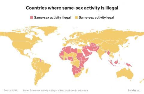 Si bien la mayoría del mundo ha legalizado la homosexualidad, los países donde todavía está prohibido están concentrados en Oriente Medio, el sudeste asiático y África, áreas con mayoría de naciones musulmanas.