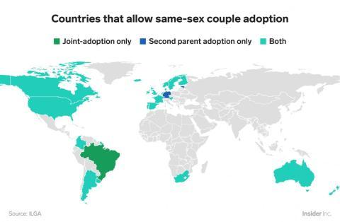 Las parejas del mismo sexo en gran parte no pueden adoptar fuera de las Américas y Europa.