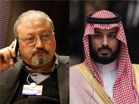 Left: Saudi journalist Jamal Khashoggi. Right: Saudi Crown Prince Mohammed bin Salman.