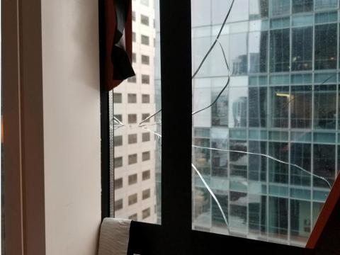 In September, an apartment owner detected a large crack in his window on the high-rise's 36th floor.