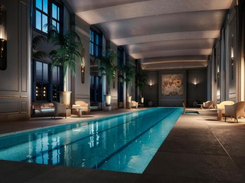 Some of the amenities include a two-lane lap pool, a spa with sauna, steam and treatment rooms, and a lounge with an outdoor terrace.
