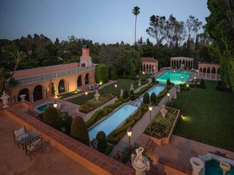 The sprawling estate, built in 1927, sits on 3.5 acres in Beverly Hills.