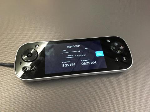 The screen is controlled using this wired remote.