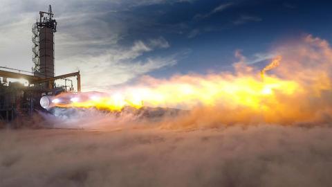 A test firing of Blue Origin's methane-burning BE-4 rocket engine.