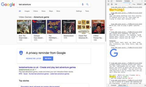 Text Adventure Easter Egg Google Chrome