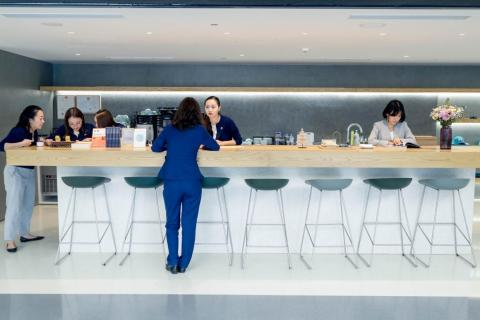There's an open-plan kitchen where Nio's baristas serve up fresh coffee and snacks.