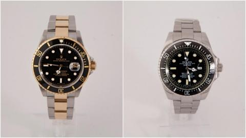 These side-by-side photos show real and fake Rolex watches — here's how to spot the counterfeit