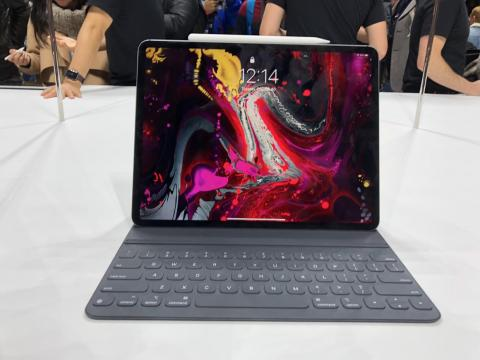 The typing experience is much improved, too. After about a minute of typing on the keyboard, I think it might actually be better than the MacBook. The keys travel and land with a satisfying thud. In this orientation, the iPad Pro