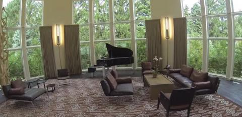 A view of the piano room.