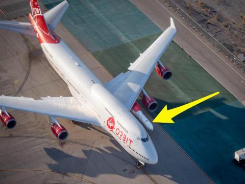 "Virgin Orbit's modified ""Cosmic Girl"" jet airplane will soar the ""Launcher One"" orbital rocket to a mid-flight launch."