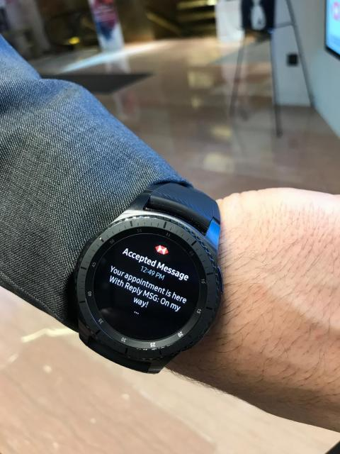 The watch works as a phone as well as a texting device, so that employees can message each other, or if they need to communicate directly, speak into a small microphone.