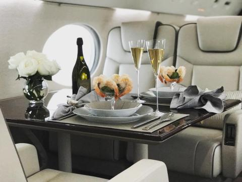 When flying private, the meals can look a bit different than your typical airline food.