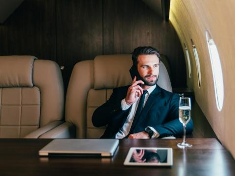 """When you fly on a private jet, it's a very different world,"" he said."