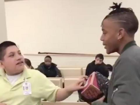 Roderick Mathis had a sweet surprise for his classmates.