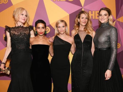 Nicole Kidman, Zoë Kravitz, Reese Witherspoon, Laura Dern y Shailene Woodley en la Fiesta de los Globos de Oro 2018.
