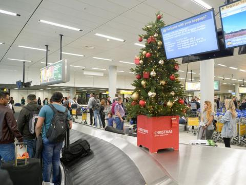Airport at Christmas.