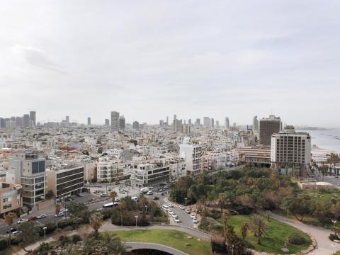 ... and the view of the city from the hotel window, like Tel Aviv below.