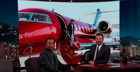 "And what multi-millionaire champion would Hamilton be if he did not have his own Bombardier Challenger 605 private plane that he ""pimped out"" in red because white planes are just boring? He has one rule — take your shoes off after"
