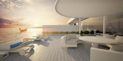 Apart from the integrated space for living, dining, entertaining, and sleeping on the upper level, there's also a deck prime for sunset watching, complete with an infinity-edge pool.