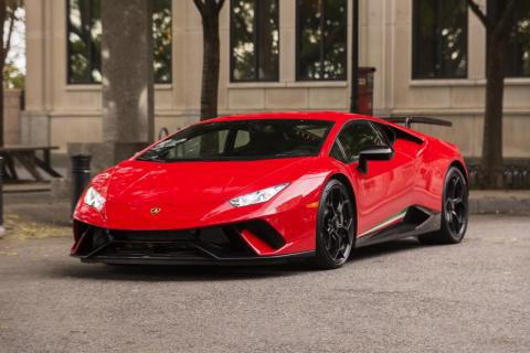"Behold! The shark-like Lamborghini Huracán Performante, in a dashing ""Rosso Mars"" paint job. Our tester was the all-wheel-drive version."