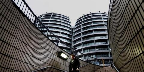 """Buildings surround the Old Street roundabout dubbed """"Silicon Roundabout"""" in London"""