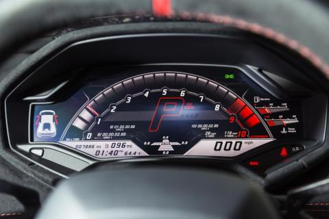 Corsa transforms the instrument cluster into a track-oriented information-crammed screen that's dominated by a digital tachometer.