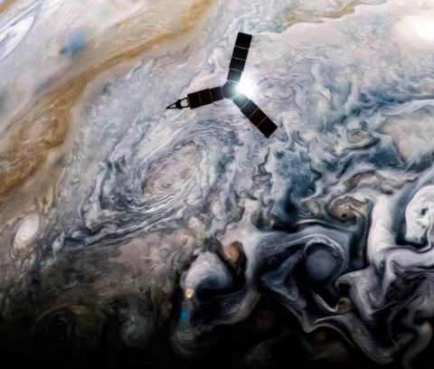 An illustration of NASA's Juno spacecraft.