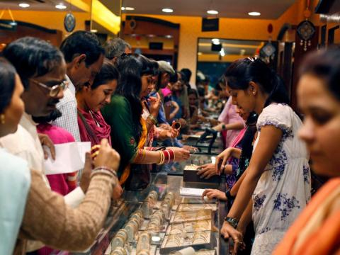The first day of the five-day-long festival is known as Dhanteras and is when the most shopping takes place.