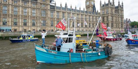 Fishing boats protest