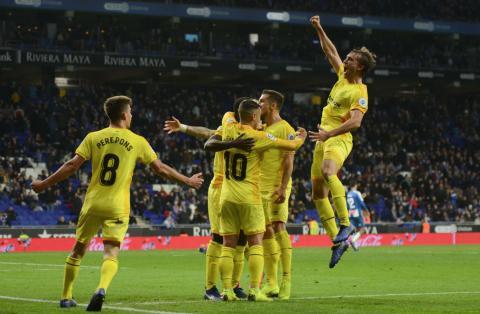 El Girona celebra un gol ante el Espanyol