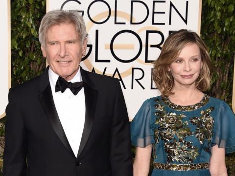 Harrison Ford y Calista Flockhart en los Golden Globe 2016.