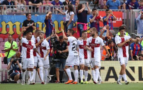 El Huesca celebra un gol