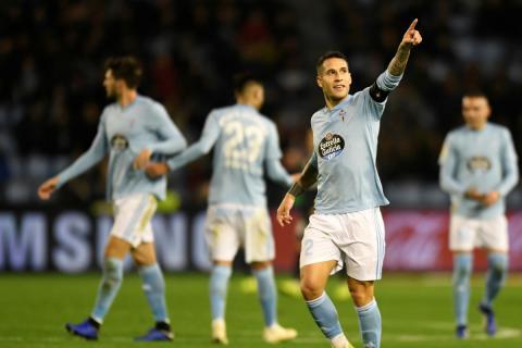Hugo Mallo celebra un gol con el Celta