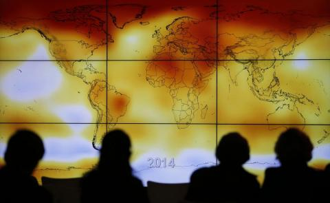 A map of Earth showing average temperatures in 2014.