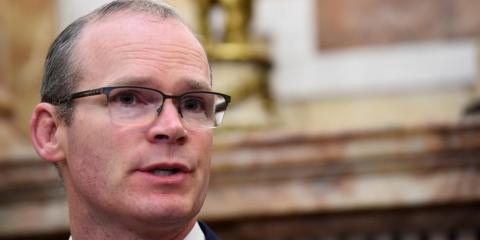 Ireland's Foreign Minister Simon Coveney speaks during a news conference in Dublin, Ireland, April 12, 2018.