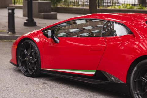 The Italian-colors detail is flamboyant, and for me, maybe overkill. But it's certainly fun, and this Lambo does hail from Bologna. Our tester started at about $274,000. A few extras took that to over $320,000. For example, a