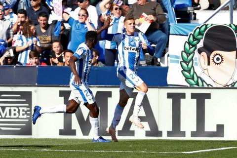 Jugadores del Leganés celebran un gol