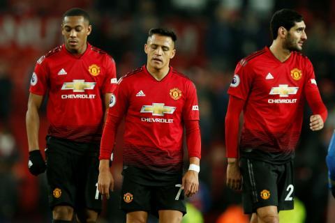 Jugadores del Manchester United durante un partido