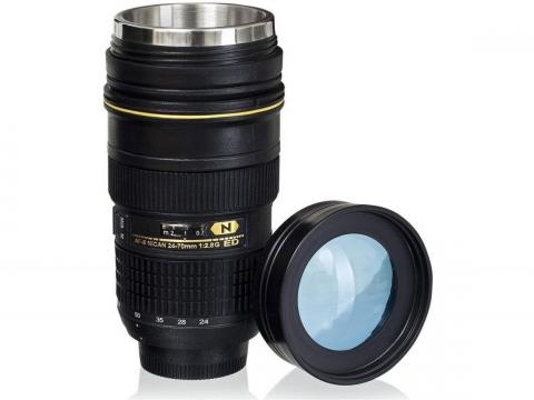 A lens-shaped coffee mug
