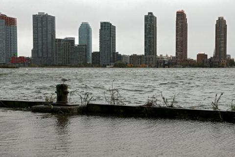 The Long Island City skyline during Hurricane Sandy.