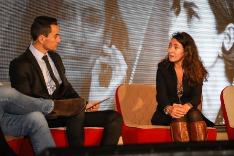 Manuel del Campo, CEO de Axel Springer, junto a Eugenia Sillero, secretaria general de Gasnam.