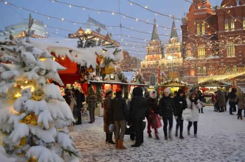 Mercado navideño en Moscú