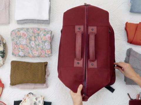 "Most airlines' policies allow only one carry-on bag and one personal item. Wool & Oak's bag is designed to let travelers carry just one piece of luggage onto the plane. ""I haven't been caught yet,"" Webster said."