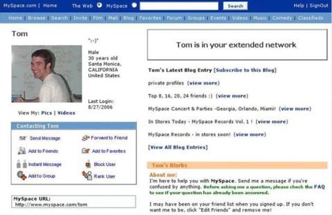 Tom, el primer amigo que te aparecía cuando abrías una cuenta de MySpace
