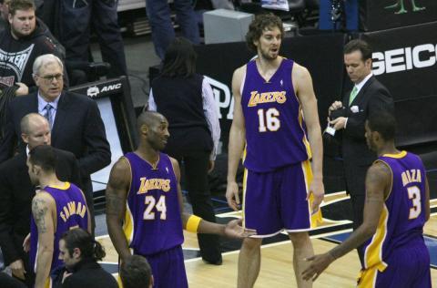 Pau Gasol, en un partido con los Lakers